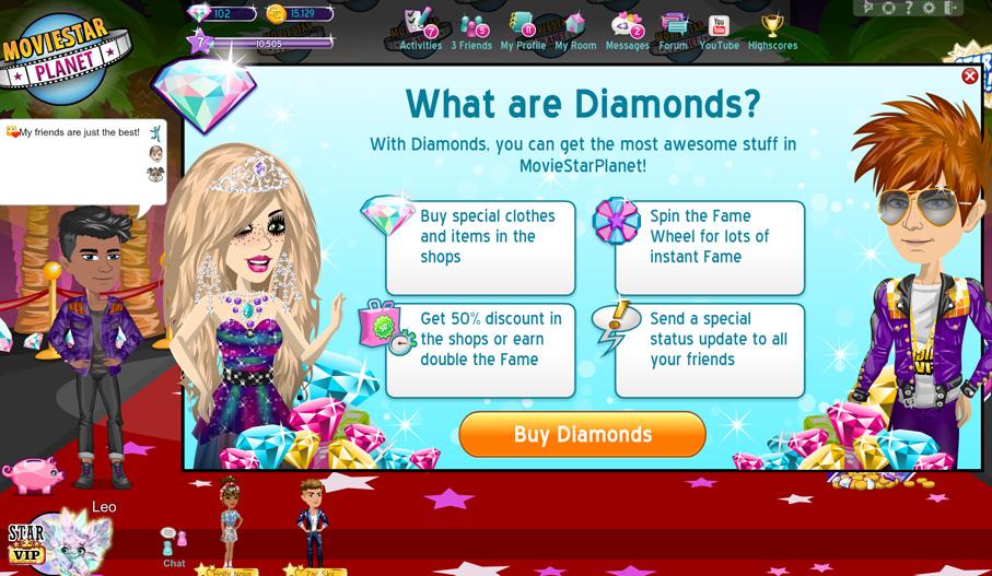 how do i get diamonds moviestarplanet