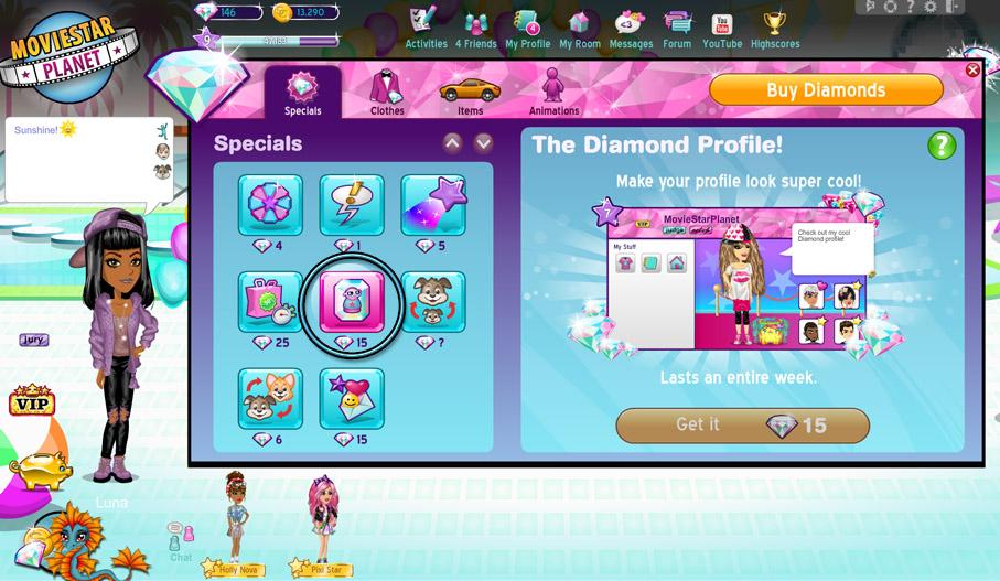 What is a Diamond Profile? – MovieStarPlanet